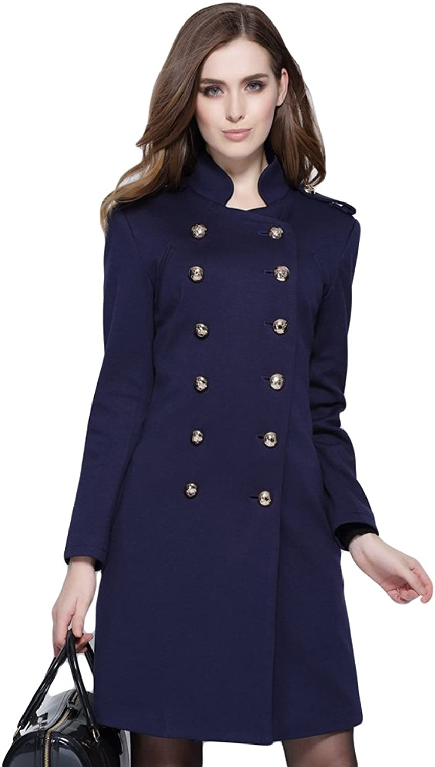 WintCO Women Coat Doublebreasted Stand Collar Large Size Fashion Outwear