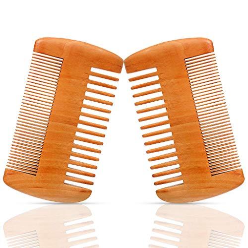 2 Packungen Bartkammset aus Holz Pfirsichholz Schnurrbart Pflegekamm mit Ledertasche Antistatischer doppelseitiger Taschenkamm für Männer