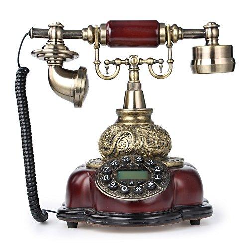 LNC Bronze Retro Vintage Antique Style Push Button Dial Desk Telephone Phone Home Living Room Decor