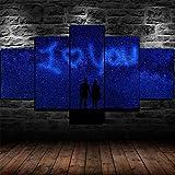 AWER Cuadro en lienzo abstracto moderno impresión de 5 piezas Te amo pareja Silueta Starry Hd Lienzo Decorativo para Tu Sala De Estar Dormitorios Decoración para El Hogar