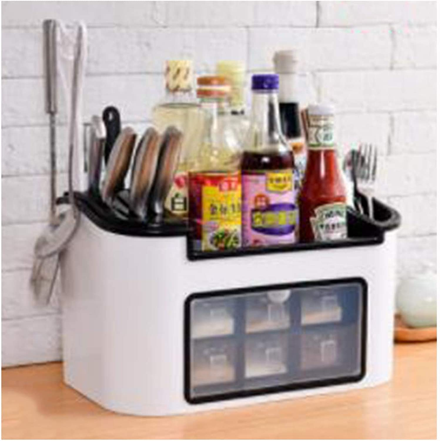 Kitchen Racks Seasoning Storage Racks Seasoning Shelf Chopsticks Seasoning Knife Holder Supplies Box Storage Box,E