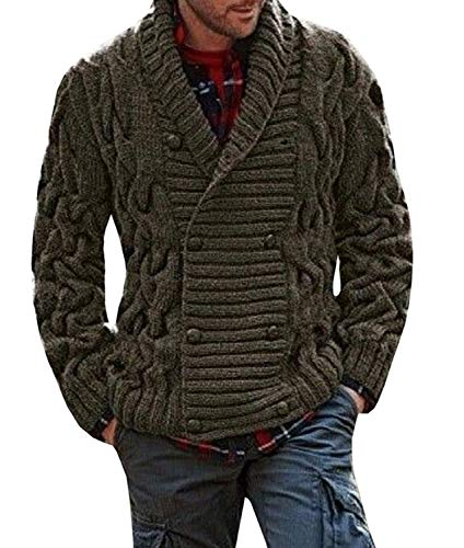 Hestenve Men's Knitted Long Sleeve Cardigan Shawl Collar Chunky Button Sweater