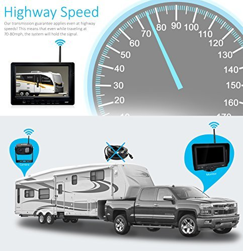 Digital Wireless Backup Camera System Kit, IP69K Waterproof Wireless Rear View Camera 7'' LCD Wireless Reversing Monitor for Trailer, RV, Bus, Trucks, Horse-Trailer, School Bus, Farm Machine,etc