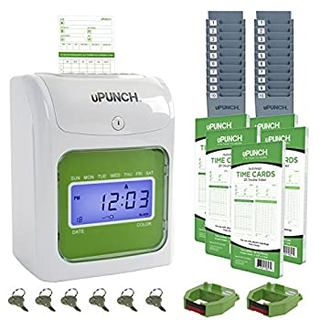 uPunch Time Clock Bundle with 100 Cards 2 Ribbons 2 Time Card Racks & 6 Keys  HN3500