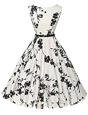 GRACE KARIN BoatNeck Sleeveless Vintage Tea Dress with Belt