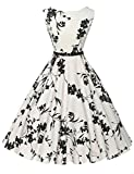 GRACE KARIN Sleeveless Cocktail Party Swing Dresses Floral Print Size L F-11