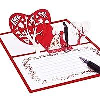 10枚の3Dポップアップグリーティングカードバレンタインデーグリーティングカード招待状結婚式のグリーティングカード中空ロマンチックな結婚式の招待状