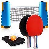 Joy.J Sets de Ping Pong, 2 Raquetas Set de Ping Pong, Juego Detenis de Mesa PortáTil, 2 P...