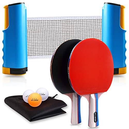 JOYJ Set Racchette da Ping Pong, 2 Racchetta Ping Pong + 3 Palle a 3 Stelle + 1 Rete Regolabile e Portatile Tavolo Ping Pong + Zaino con Chiusura a Coulisse