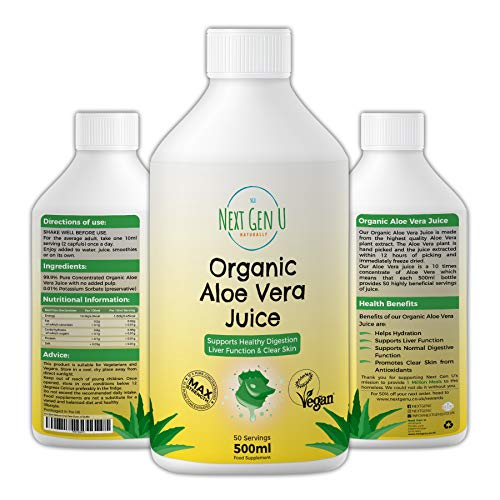Next Gen U | Organic Aloe Vera Juice Concentrate 50 Servings 500ml | Max Strength 10 X Concentrated Pure Aloe Vera Juice | No Pulp Added | Suitable for Vegan and Vegetarian Diets