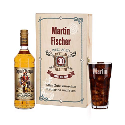 Herz & Heim® Captain Morgan Geschenkset zum Geburtstag mit Gravur des Glases und bedruckte Präsentbox
