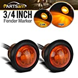 Partsam Pair 3/4' Mini Marker Clearance Light Turn Signal Light 1 Diode Amber Light,3 Wires