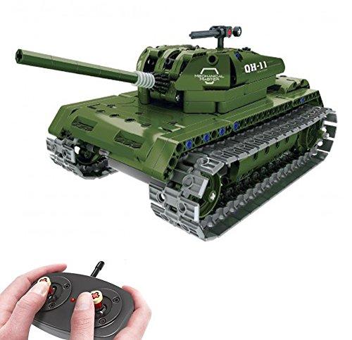 Modbrix Tanque teledirigido de 2,4 GHz, juguete de construcción con 453 componentes, compatible con tecnología L*go.