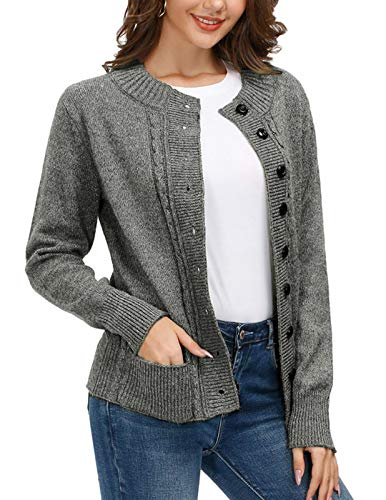 Women Cable Knit Sweater Coat Open Front Cardigan Button Down Pocket Knitwear with Pockets (Dark Grey, M)
