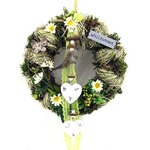Small-Preis Türkranz Wandkranz Kranz mit Metallherz Natur Handarbeit ø 28 cm - Frühling - Sommer - Herbst - Willkommensgruß 079