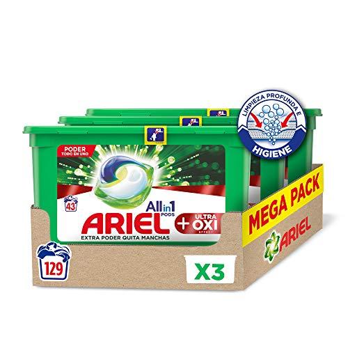 Ariel Allin1 Pods Oxi - Detergente en cápsulas para la lavadora, específico para eliminar manchas díficiles, 129 lavados (3 x 43)