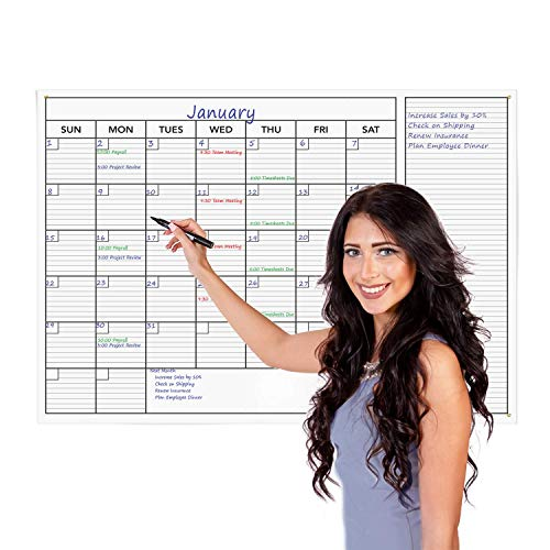 """KITLIFE Jumbo Wet or Dry Erase Monthly Wall Calendar – Undated Office Wall Planner – Erasable Whiteboard with Calendar Month and Notes – Easy Mount Adhesive Foam Strips Included, 24 x 36"""""""