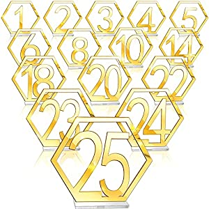 Jetec Table Numbers 1-25 Wedding Acrylic Table Numbers Hexagon Wedding Numbers Hollow Out Reception Stands Seat Numbers with Holder Base for Wedding Party Event Catering Decoration