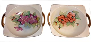 Vintage Nippon Hand Painted Square Shaped Floral Bowl Gold Handles Set of 2