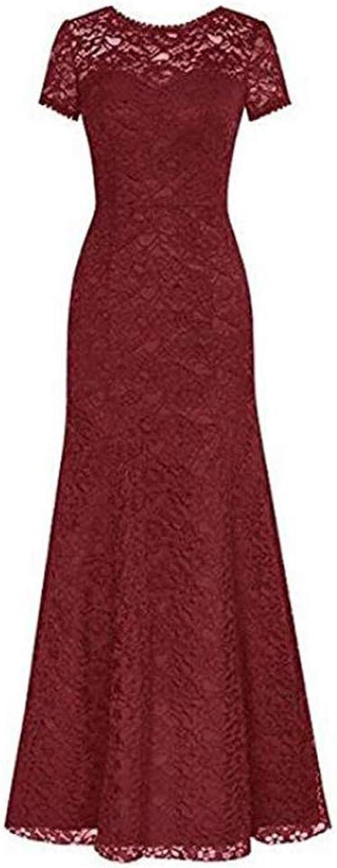 LIBODU Long Lace Bridesmaid Dress Short Sleeve Mermaid Evening Party Dress