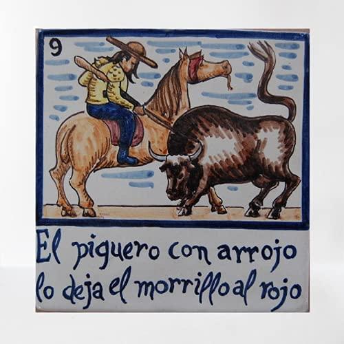 Cerámica Sevillana - Azulejos artesanales de cerámica Sevillana TORERO 15 X 15 mod. 9
