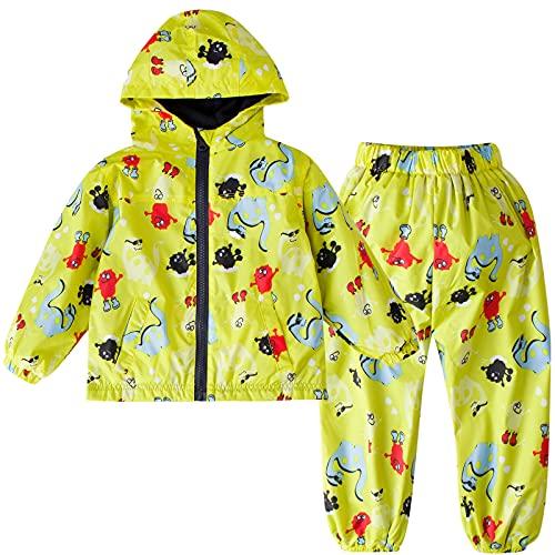 LZH Chubasquero para niños pequeños, bebés, niñas, impermeable, chaqueta con capucha, abrigo de dinosaurio + pantalón, traje, amarillo, 4-5 años