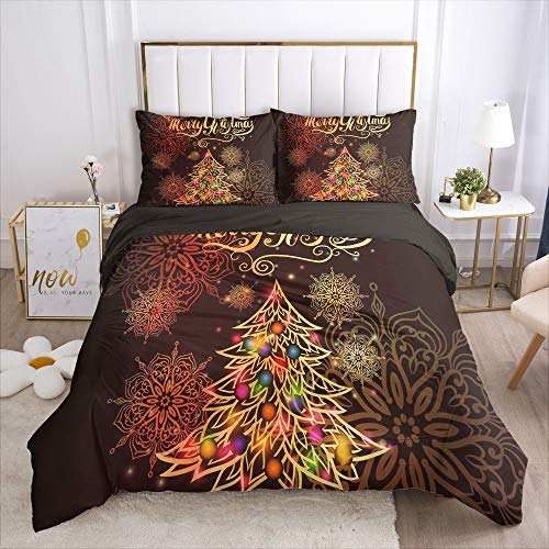 ZXXFR Duvet Cover Set Printed Christmas tree snowflakes,Bedding Quilt Cover Soft Breathable for Girls Boys 3 Pieces (1 Duvet Cover + 2 Pillow cases)-UK King 220x230CM