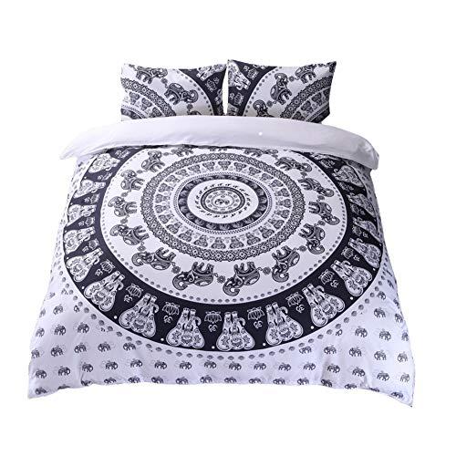 GODGETS Bohemia Funda de edredón diseño de Mandala Ombra y teñido, Colcha Bohemia, Ropa de Cama de Mandala, Colcha Hippie Hippy,Blanco,[228 * 228] CM 3 Pics