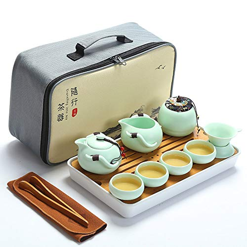 fanquare Tragbare Reise Kung Fu Teeservice, Handgemachte Kungfu Tee Set, Porzellan Teekanne, Teetassen, Bambus Tee-Tablett mit Einer Tragbaren Reisetasche, Grün