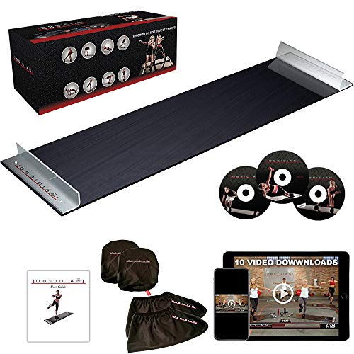 Obsidian Slide Board - 5' Foot Slide Board with Reinforced End Stops for High Intensity and Low Impact Exercise