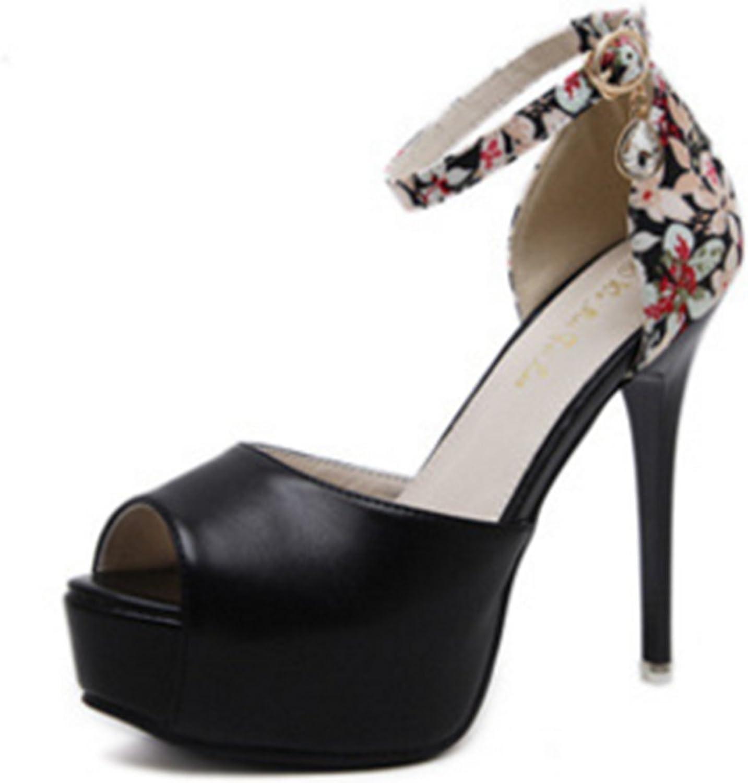 IINFINE Women Peep Toe Platform High Heel Flowers Evening Wedding Sandals High Heel Pumps Sexy Stiletto