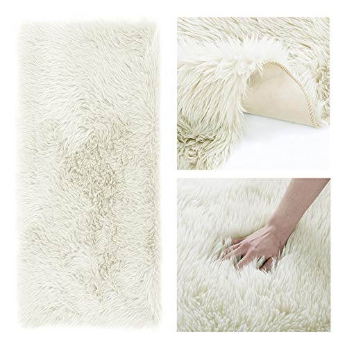 AmeliaHome Alfombra de piel de cordero sintética de pelo largo, rectangular, color crudo, 50 x 150 cm