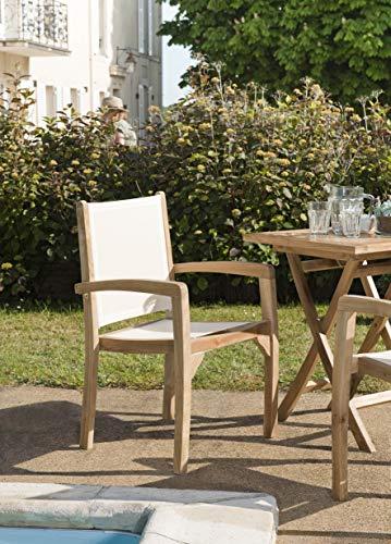 MACABANE 501111 Lot de 2 fauteuils Dossier et Assise Couleur Ivoire Couleur Ivoire en Teck et Textilène Dimension 55cm X 57cm X 92cm