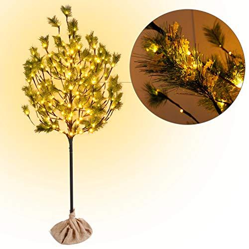 CCLIFE LED Kiefern Baum innen Außen Weihnachten Christbaum Lichterbaum warmweiss Kaltweiß Weihnachtsbeleuchtung, Farbe:Warmweiß, Größe:120cm mit 80LEDS