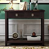 Knocbel 36 Inch Accent Entry Console Table with Drawers, Metal Knobs and Bottom Open Shelf, Solid Wood Sofa Couch Table for Entryway Hallway Living Room (Espresso)