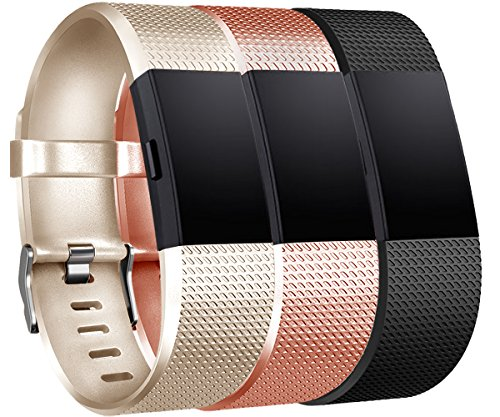 Tobfit Compatible for Charge 2 Bands, Sports Waterproof Replacement Bands Charge 2, Champagne Gold, Rose Gold, Black, Small