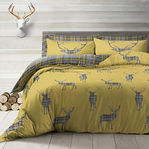 ShawsDirect Stag Reversible Print Quilt Duvet Cover set - Single/Double/King Size (Ochre, Double Size Bed)