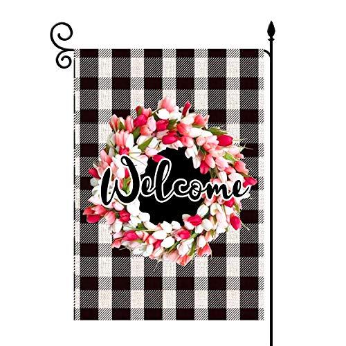 lovegarden Welcome-Tulpen Lilienkranz Garten-Flagge vertikal, doppelseitig, 31,8 x 45,7 cm, Karomuster, rustikaler Frühling, Ostern, Jute, Schwarz und Weiß