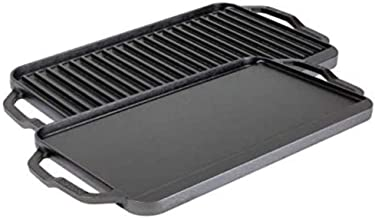 Lodge Chef Collection 20x10 Inch Cast Iron Chef Style Reversible Grill/Griddle. Two-in-One Seasoned Cookware for Stovetop ...