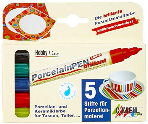 Kreul 16400 - Glas und Porcelain Pen, deckende Glas- und Porzellanmalstifte, auf Wasserbasis, formstabile Rundspitze, Strichstärke ca. 2 - 4 mm, brillante Farbe, 4 Farbstifte und Konturstift