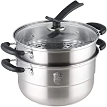 YYSM Steamer Induction Cooker Universal Stainless Steel 26cm Double Layer Double Bottom Burning Gas Can Stand Vertical Pot...