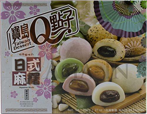 Japanse Mochi-mix (groene thee, rode bonen, pinda's, sesam, ube / rijstcake 20 x 30 g, 600g