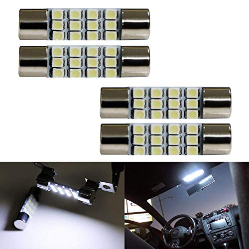 iJDMTOY (4) Xenon White 12-SMD 578 579 572 211-2 212-2 214-2 LED Replacement Bulbs Compatible With Car Interior Map Dome Cargo Area Lights