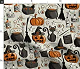 vintage halloween fabric - Spoonflower Fabric - Vintage Halloween Pumpkin Cat Spooky Style Orange Printed on Fleece Fabric by The Yard - Sewing Blankets Loungewear and No-Sew Projects