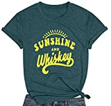 MNLYBABY Sunshine and Whiskey Short Sleeve T-Shirt Women Beach Funny Letters Print Summer Tops Tees Dark Green