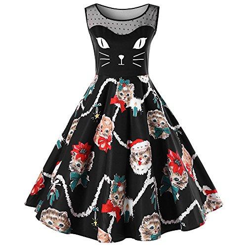 BeautyGal Women's Christmas Plus Size Dress Kitten Printed Mesh Insert Sleeveless Novelty Dresses Black 2XL