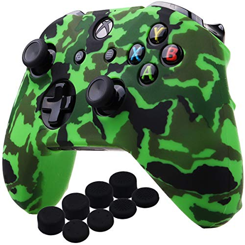 YoRHa Water Transfer Printing Camouflage Silicone Cover Skin Case for Microsoft Xbox One X & Xbox One S Controller x 1(Green) with PRO Thumb Grips x 8