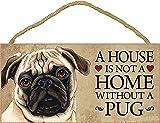 Placa madera Pug en casa