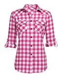 Zeagoo Womens Pink Plaid Shirt, Roll up Sleeve Casual Boyfriend Button Down Flannel Shirts ,Rose ,X-Large