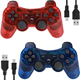 Controllers for PS3 Playstation 3 Dual Shock, Wireless Bluetooth Remote Joystick Gamepad for Six-axis with Charging Cable (Pack of 2, ClearBlue and ClearRed)
